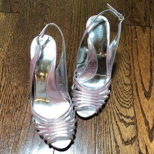 ✨Pink Silver heels NWOT size 6M✨